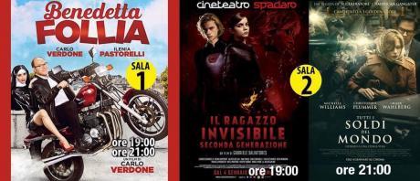 Sala 1: Benedetta Follia (ore 19:00 e  21:00)    Sala 2: Il Ragazzo Invisibile 2 (ore 19:00) Tutti i soldi del Mondo (ore 21:00)