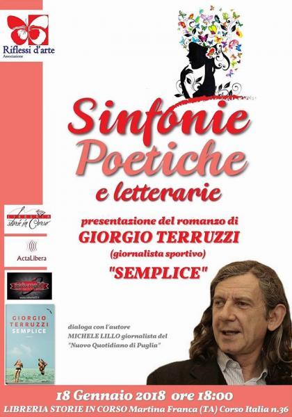 """Sinfonie letterarie presenta Giorgio Terruzzi e il suo romanzo """"Semplice"""" (Rizzoli)"""