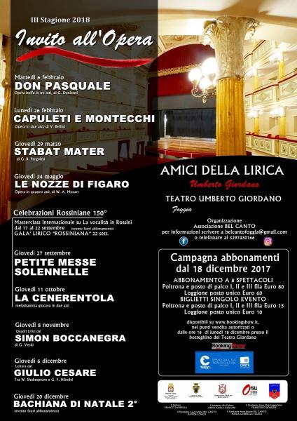 Terza Stagione INVITO ALL'OPERA presso il Teatro Giordano