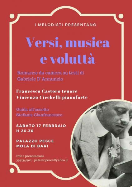 """""""Versi, musica e voluttà"""" Romanze da camera su testi di Gabriele D'Annunzio"""