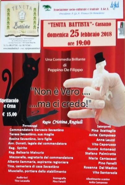 """Spettacolo teatrale: """"Non è vero...ma ci credo"""" di Peppino De Filippo"""