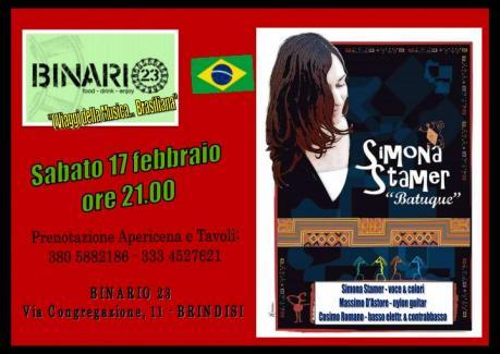 """Simona Stamer TRIO ""BATUQUE ""- Apericena & Musica Brasiliana Live@Binario23 Brindisi"