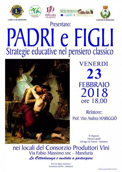 """Conferenza """"Padri e figli: strategie educative nel pensiero classico"""", venerdì 23 febbraio a Manduria."""