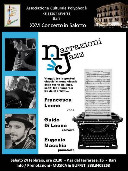 Narrazioni Jazz con Francesca Leone, Guido Di Leone, Eugenio Macchia