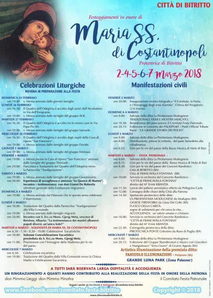 Festa Patronale in onore di Maria SS. di Costantinopoli 2018