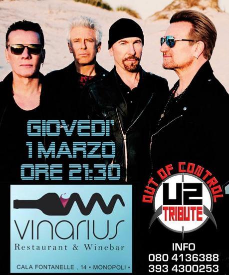 Out of Control U2 Tribute live Vinarius Monopoli