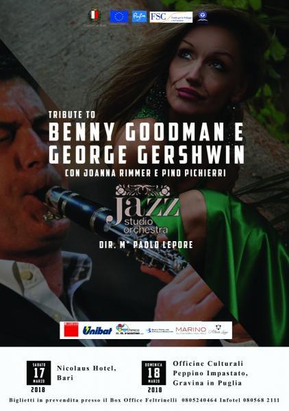 """Joanna Rimmer e Pino Pichierri con la Jazz Studio Orchestra diretta dal M° Paolo Lepore in """"Tribute to Benny Goodman e George Gershwin"""""""