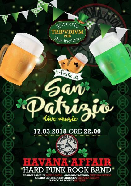 Live Havana Affair Rock Band per la Festa di San Patrizio! Sabato 17 marzo al Tripudium Pub, Trepuzzi (Le)