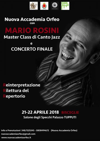 Master Class di canto jazz e Concerto Finale con Mario Rosini, organizzato dalla Nuova Accademia Orfeo