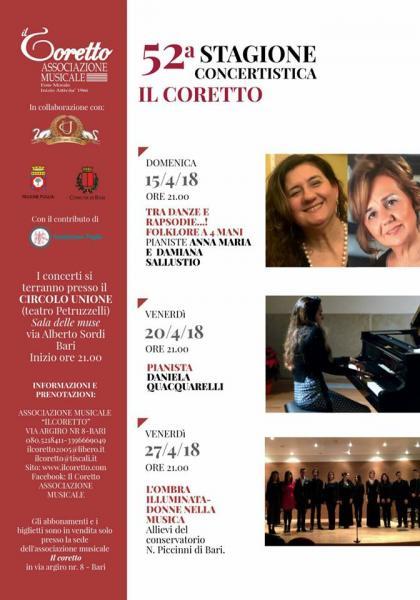 """Tra Danze e Rapsodie...! Folklore a 4 mani    """" 52^ Stagione concertistica  Eventi del 15 - 20 - 27 Aprile """""""