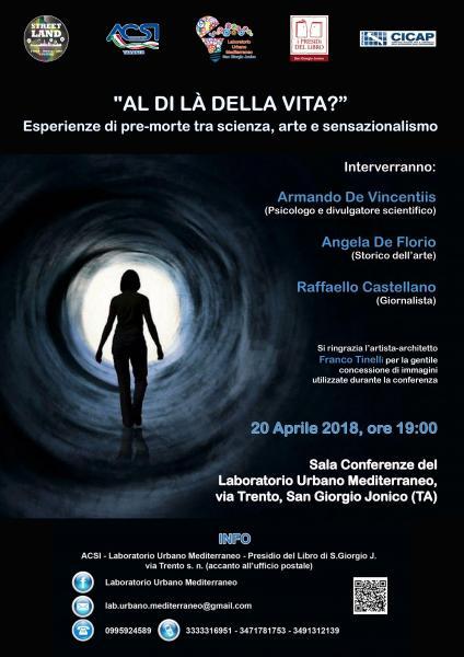 """Conferenza """"Al di là della vita? Esperienze di pre-morte tra scienza, arte e sensazionalismo"""" in collaborazione con CICAP PUGLIA"""