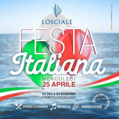 FESTA ITALIANA DAL MATTINO A TARDA SERA LIDO LOSCIALE.