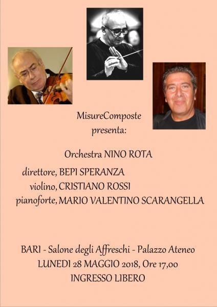 Il grande Cristiano Rossi (violino) in concerto col pianista barese Scarangella