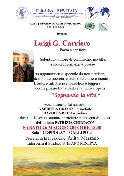 Incontro con il poeta e scrittore Luigi G. Carriero