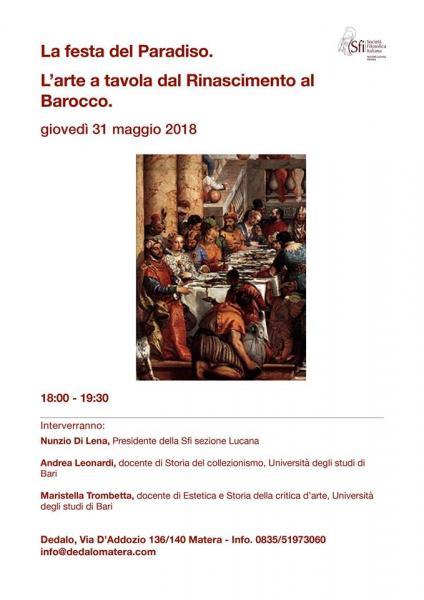 La  festa  del  Paradiso.  L'Arte  a  tavola  dal  Rinascimento  al  Barocco