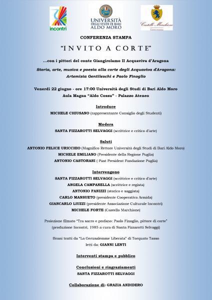 Conferenza Stampa di presentazione evento: III^ edizione INVITO A CORTE con i pittori del conte: Artemisia Gentileschi e Paolo Finoglio, Castello Marchione