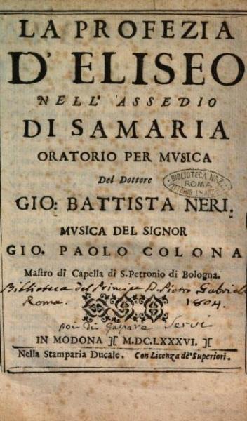 44° Festival della Valle d'Itria - La profezia di Eliseo di Giovanni Paolo Colonna