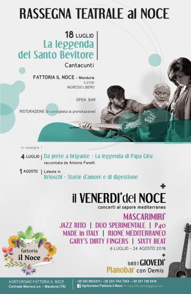 Per la rassegna teatrale del Noce on stage La Leggenda del Santo Bevitore de I Cantacunti