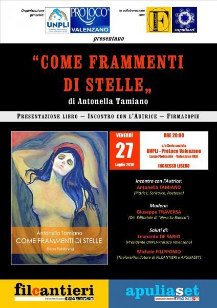 """""""COME FRAMMENTI DI STELLE"""" (di Antonella Tamiano) presentazione libro a Valenzano (BA)."""