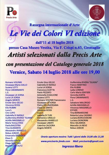 Le Vie dei Colori VI edizione ed Artisti selezionati dalla Precis Arte 2018