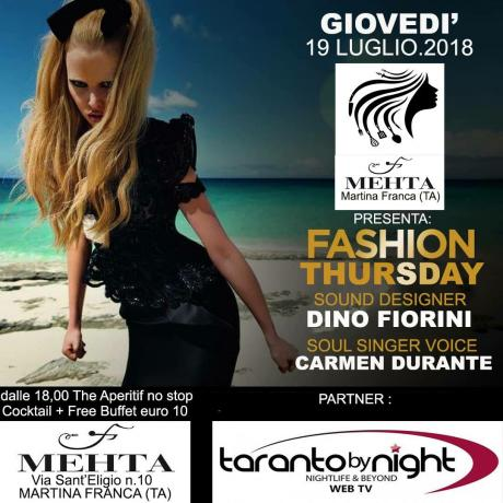 FASHION THURSDAY - The aperitif no stop - Cocktail + Free buffet €. 10,00