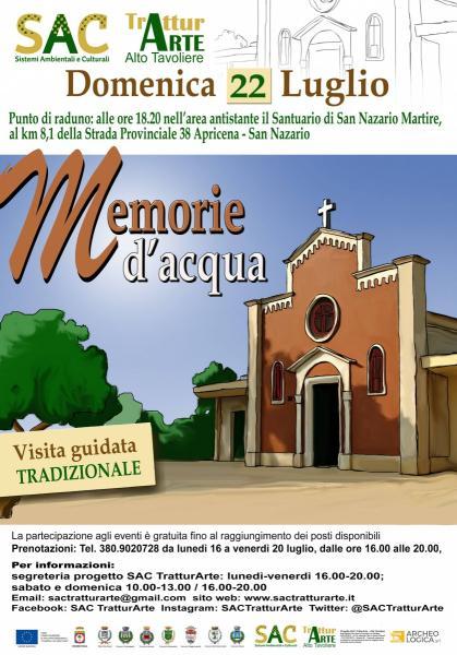 """DOMENICA 22 LUGLIO VISITA GUIDATA """"MEMORIE D'ACQUA"""" AL SANTUARIO DI SAN NAZARIO MARTIRE"""