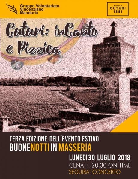 """""""Buone Notti in Masseria"""", cena e poi concerto con """"Giancarlo Paglialunga & Arneo Tambourine Project"""", a Masseria Cuturi lunedì 30 luglio."""