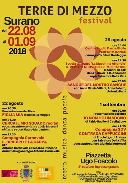 TERRE DI MEZZO FESTIVAL  dal 22 agosto al 1 settembre 2018 Surano  II° edizione