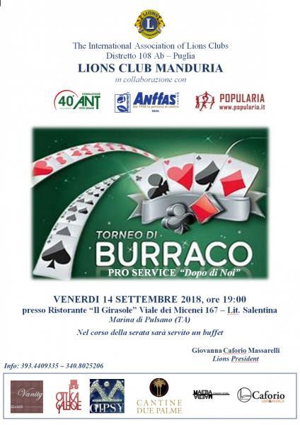 """Torneo di Burraco pro service """"Dopo di noi"""""""