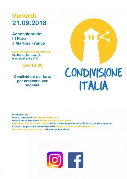 Accensione III Faro Condivisione Italia a Martina Franca