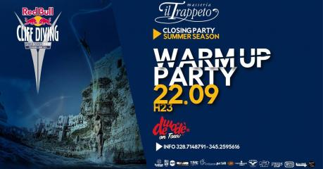 """Sabato 22/09 """"WARM UP CLIFF Diving Party"""" Closing Trappeto Summer (Monopoli)"""