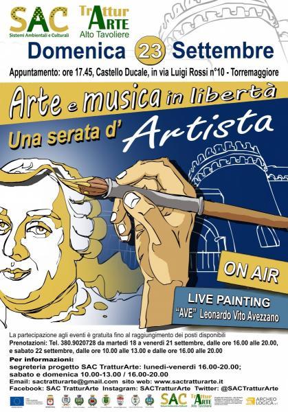 """DOMENICA 23 SETTEMBRE """"ON AIR ARTE E MUSICA IN LIBERTÀ – UNA SERATA D'ARTISTA"""" A TORREMAGGIORE"""