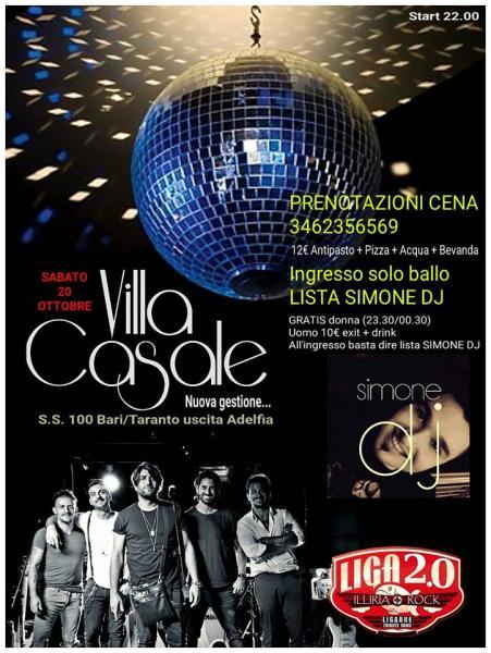 Villa Casale nuova gestione con live dei LIGA2.0 + dj set SIMONE DJ
