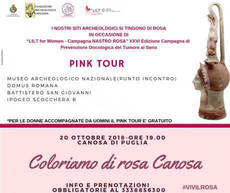 """Il """"Pink Tour"""" archeologico a Canosa di P. a favore della campagna di sensibilizzazione LILT"""