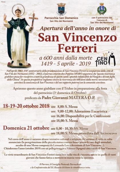 Apertura Anno Giubilare per il VI Centenario della morte di S. Vincenzo Ferreri