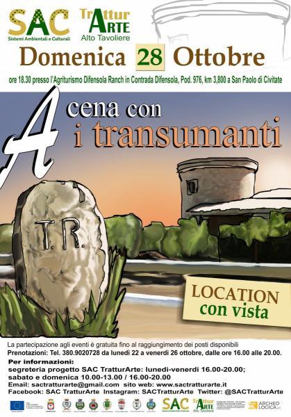 """DOMENICA 28 OTTOBRE A SAN PAOLO DI CIVITATE L'APPUNTAMENTO """"A CENA CON I TRANSUMANTI"""""""