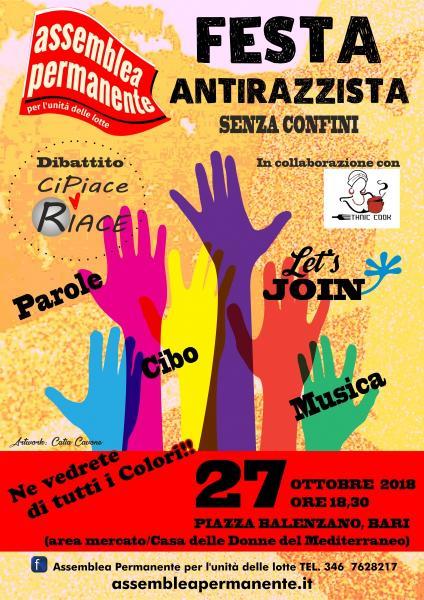 1° Festa Antirazzista- Parole, cibo e musica dal mondo. Ne vedrete di tutti colori!!