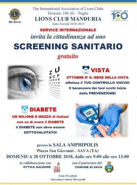 Domenica 28 ottobre a Sava (Ta) screening sanitario gratuito.