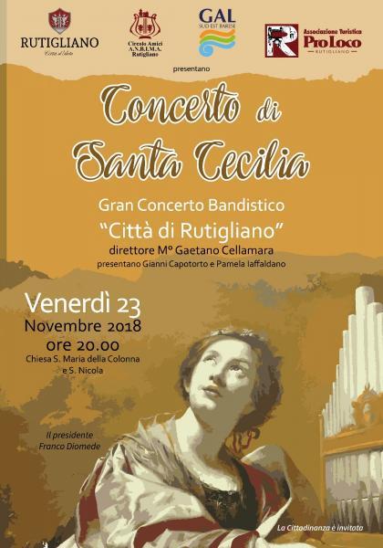 """Concerto di Santa Cecilia con lo Storico Gran Concerto Bandistico """"Città di Rutigliano"""""""