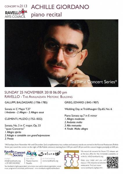 Tea Time Concert 4: ACHILLE GIORDANO pianoforte