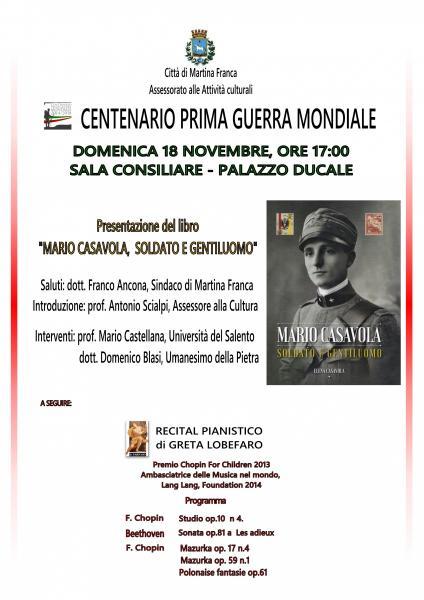 """Concerto Pianistico e Presentazione del libro """"Mario Casavola Soldato e Gentiluomo"""""""