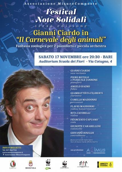Gianni Ciardo inaugura il Festival Note Solidali con il Carnevale degli Animali di Saint-Saens