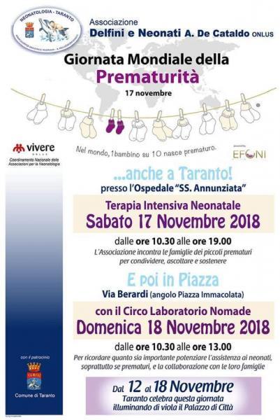 """Giornata Mondiale dei bimbi nati prematuri:  """"Delfini e Neonati  - A. De Cataldo Onlus"""""""