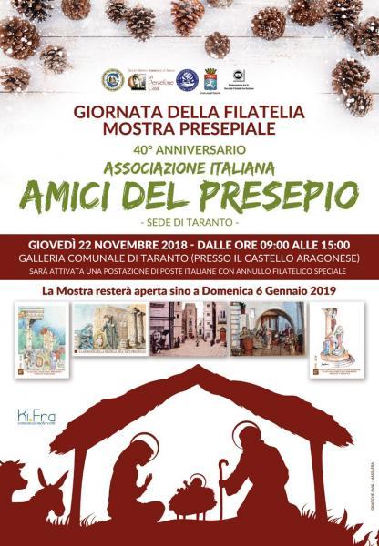 Un annullo filatelico per il quarantesimo anniversario degli Amici del Presepio Taranto