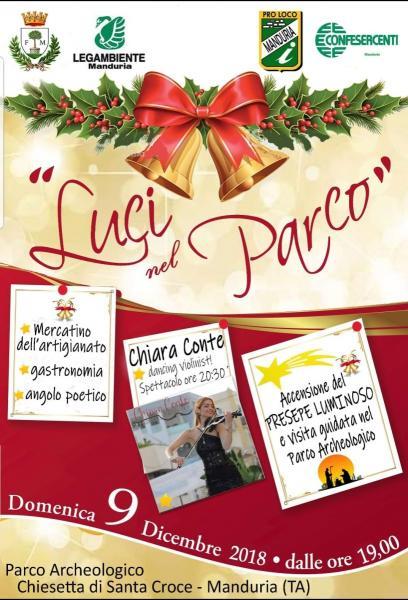 """Con """"Luci nel Parco"""" domenica 9 dicembre si aprono gli eventi natalizi a Manduria"""