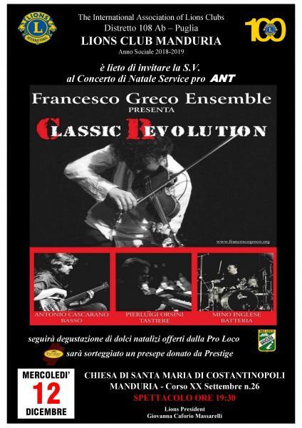 """Francesco Greco Ensemble"" in concerto pro ANT, mercoledì 12 dicembre a Manduria."