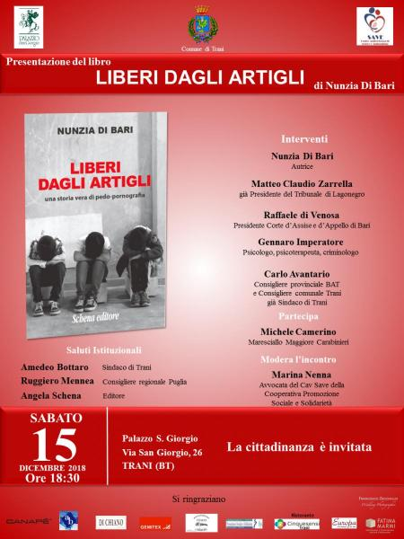 """Presentazione libro """"Liberi dagli artigli"""" di Nunzia Di Bari, Schena Editore"""