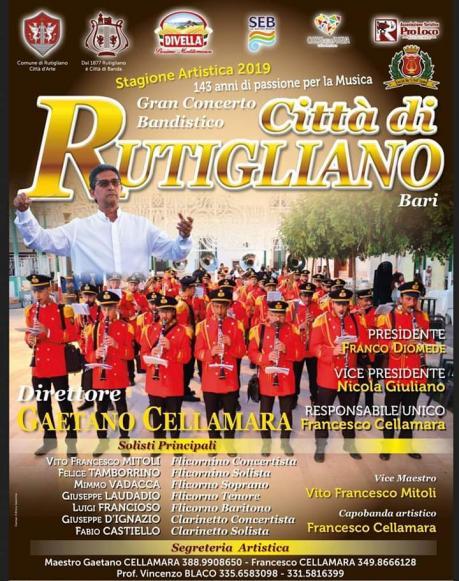 """La Banda in Piazza! Concerto di apertura della 143^ Stagione Artistica dello Storico Gran Concerto Bandistico """"Città di Rutigliano"""""""