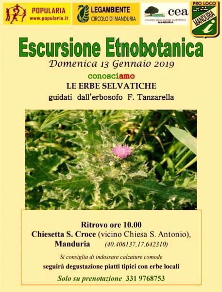 """""""ConosciAmo Le Erbe Selvatiche"""". Escursione Etnobotanica a cura del CEA Manduria in collaborazione con Popularia e Pro Loco Manduria"""