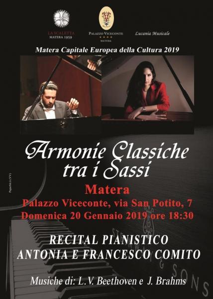 Recital pianistico 'Armonie classiche tra i Sassi' di Antonia e Francesco Comito